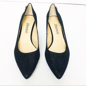 J. Renee Gianna Glitter Suede Pump Black Sz 5M